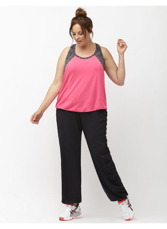 Lane Bryant Plus Size Performance Stretch ruched active pant Size 18/20, black