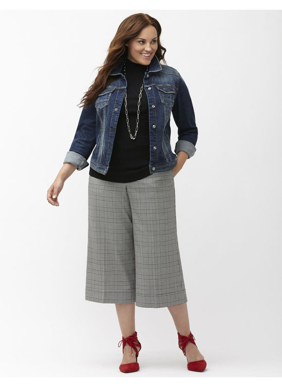 Lane Bryant Plus Size Lena Tailored Stretch plaid crop Size 16, black