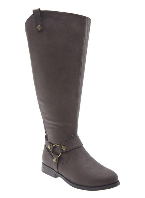 Lane Bryant Extra wide calf harness riding boot, Women's, Size: 11 WW,9 WW,12,7 WW, Brown