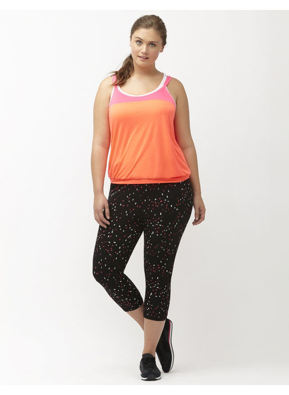 Lane Bryant Plus Size Layered look strappy active tank Size 14/16,18/20,22/24,26/28, Fiery Coral