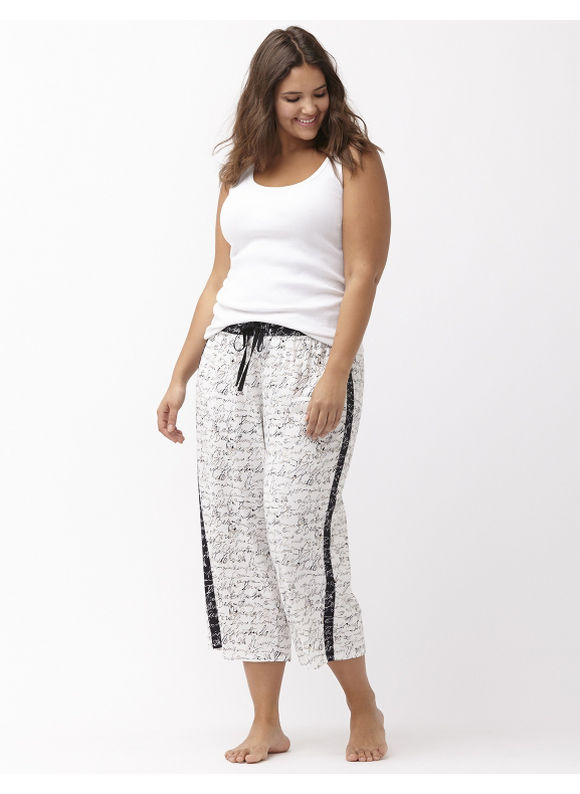 Lane Bryant Plus Size cropped sleep pant Size 14/16, script print - Lane Bryant ~ Trendy Plus Size Clothes