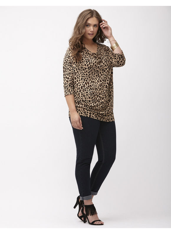 Lane Bryant Plus Size Leopard zip shoulder wedge top Size 14/16,18/20,22/24,26/28, Classic Camel