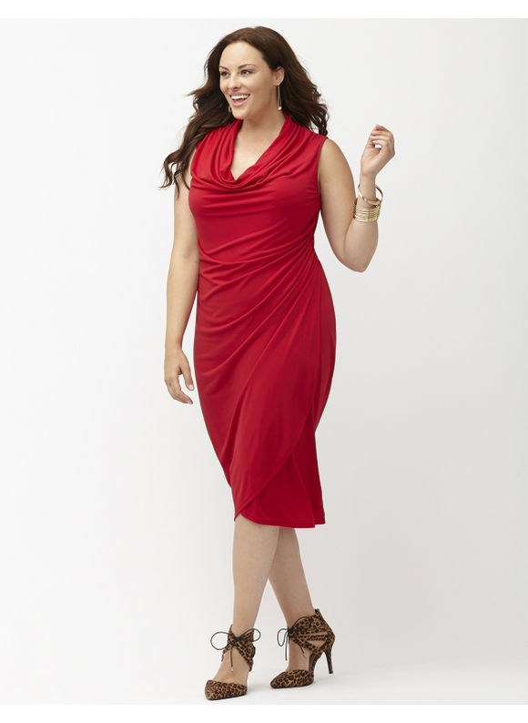 Plus Size Cowl neck dress Lane Bryant Women's Size 14/16, red