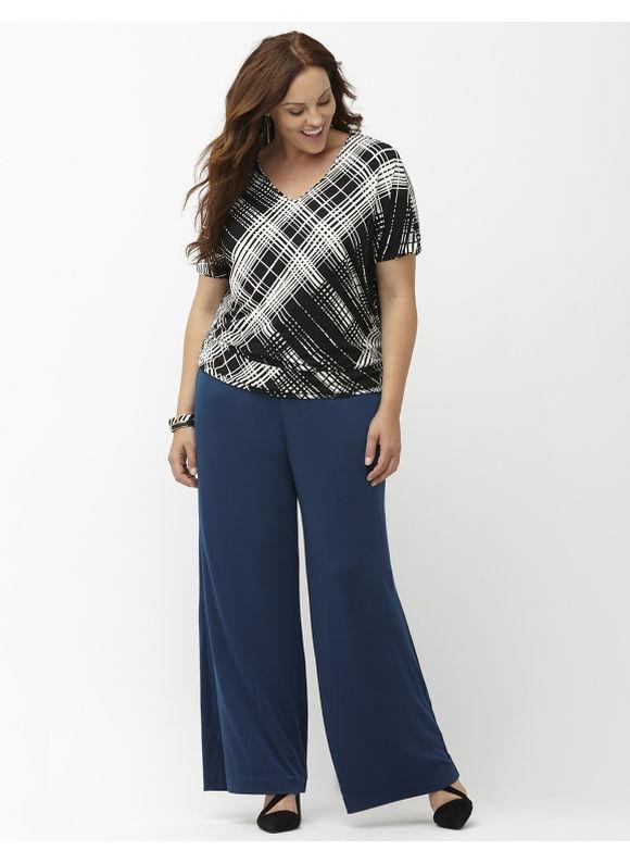 Lane Bryant Plus Size Simply Chic bias stripe matte Jersey wedge tee Size 14/16,18/20,22/24,26/28, black