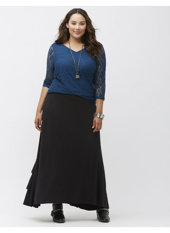 Lane Bryant Plus Size Tiered ruffle maxi skirt, Black