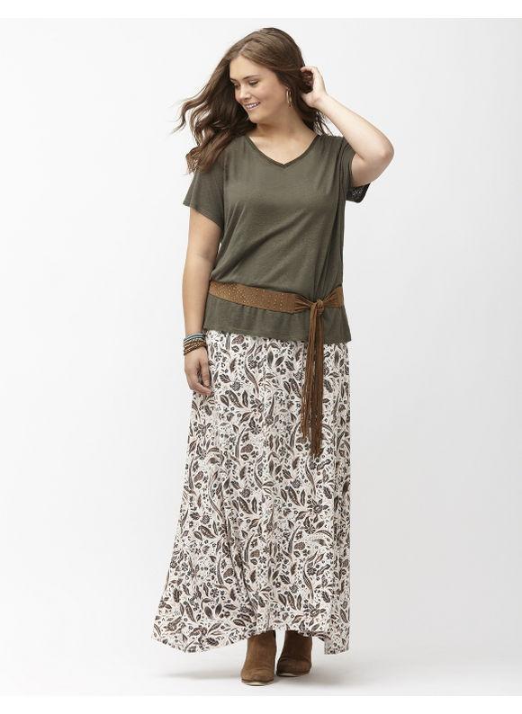 Lane Bryant Plus Size Leaf print maxi skirt Size 14/16,18/20,22/24,26/28, white