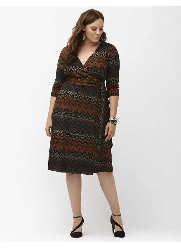 Plus Size All Work & Play wrap dress by Kiyonna Lane Bryant Women's Size 2X,3X,4X,0X, Spice