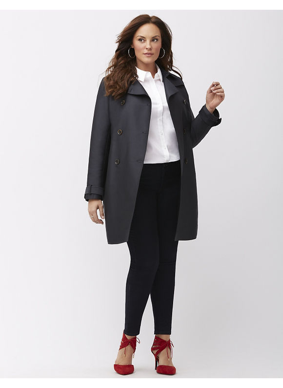 MYNT 1792 Plus Size Belted trench coat, Blue