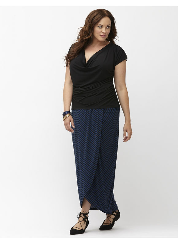 Lane Bryant Plus Size Simply Chic matte jersey faux wrap maxi skirt Size 26/28, Starry Night
