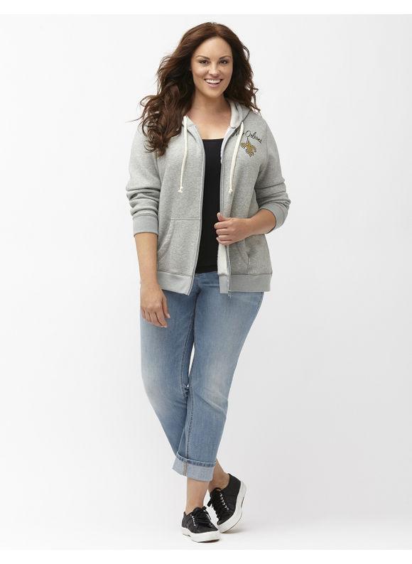 Lane Bryant Plus Size New Orleans Saints zip front hoodie Size 18/20, gray