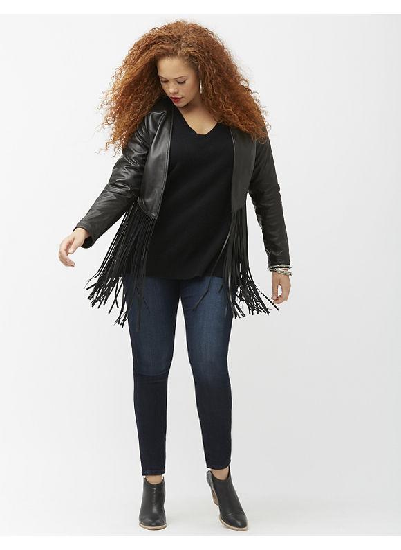 Lane Bryant Plus Size 6th & Lane fringed leather jacket, Women's, Size: 12,14/16,18/20,22/24,26/28, Black