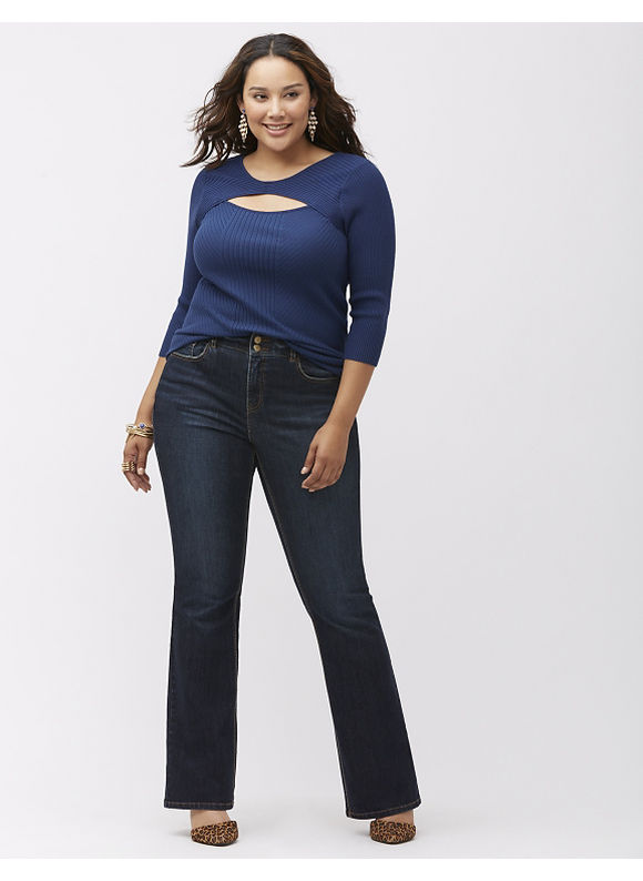 Lane Bryant Plus Size Bootcut jean with T3 Tighter Tummy Technology, Women's, Size: 14,16,18,20,22, Blue