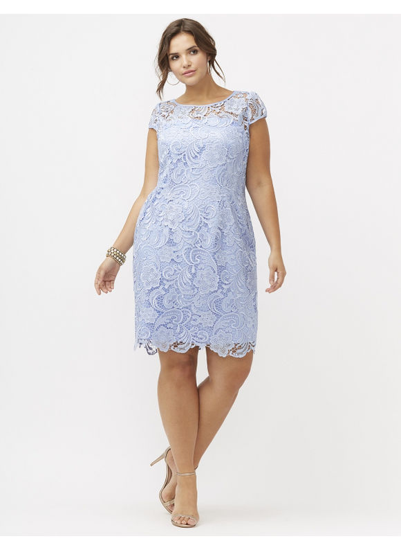 Plus Size Cap sleeve lace sheath dress by Adrianna Papell Lane Bryant Women's Size 14,16,20,22, forever blue