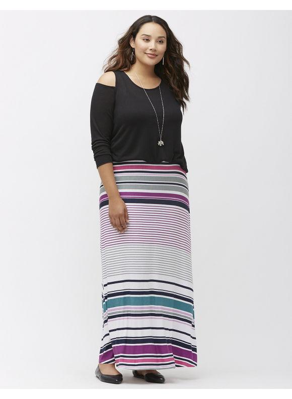 Lane Bryant Plus Size Striped knit maxi skirt Size 26/28, Soft Lilac