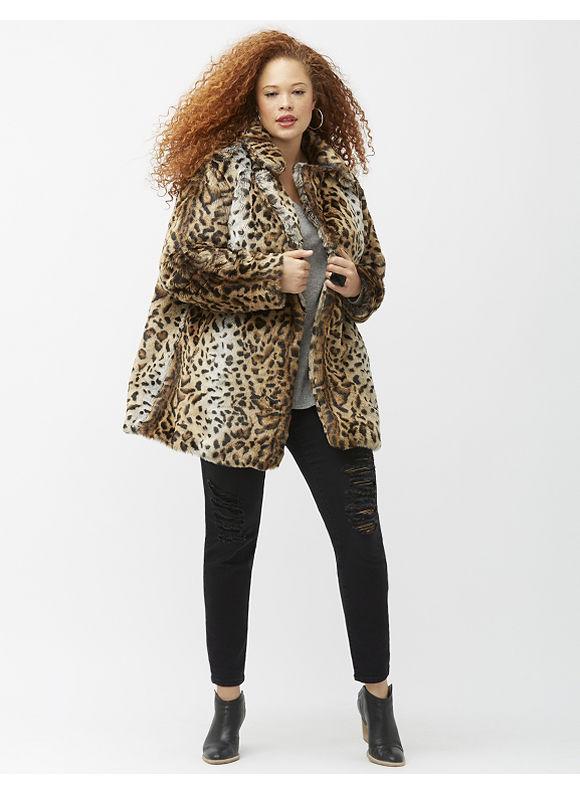 Lane Bryant Plus Size 6th & Lane leopard coat, Gold