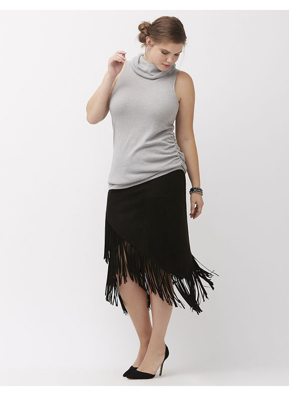 Lane Bryant Plus Size 6th & Lane suede fringe skirt,  Black