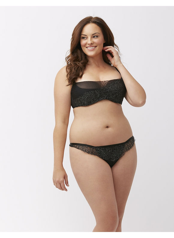 Cacique Plus Size Shimmer lace thong panty,  Women' Size: 22/24,  Black plus size,  plus size fashion plus size appare