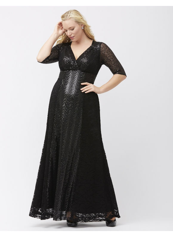 Kiyonna Plus Size Gatsby gown by Womens Size 2X Black $258.00 AT vintagedancer.com