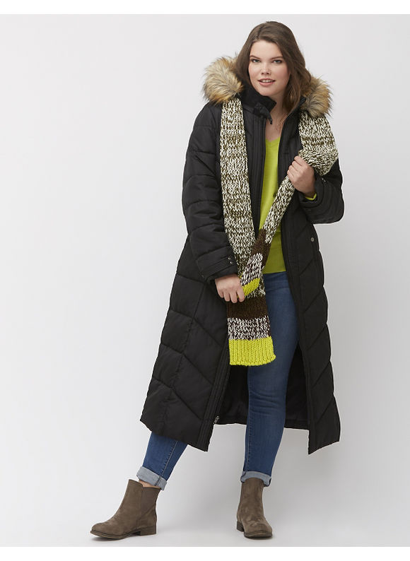 Lane Bryant Plus Size Maxi puffer coat, Women's, Size: 14/16,18/20,22/24,26/28, Black