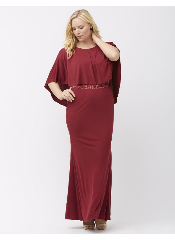 ABS Allen Schwartz Plus Size Cape top gown by,  Women' Size: 1  Red plus size,  plus size fashion plus size appare
