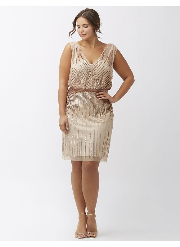 Lane Bryant Plus Size Sequined sleeveless dress by Adrianna Papell Womens Size 1420162218 White $299.00 AT vintagedancer.com