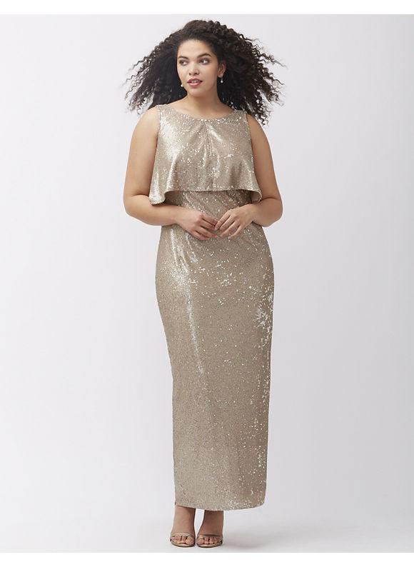 ABS Allen Schwartz Plus Size Vintage sequin gown by,  Women' Size: 1  Gold plus size,  plus size fashion plus size appare