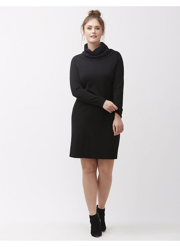 Lane Bryant Plus Size Turtleneck sweater dress with scoop back, Women's, Size: 18/20, Black