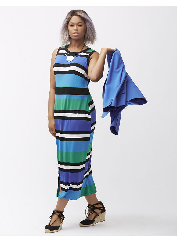 LANE BRYANT Plus Size Striped maxi dress, Vibrant Blue