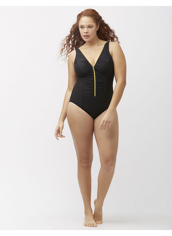 Miraclesuit Plus Size Blitz zipper one-piece swim suit by Miraclesuit®, Women's, Size: 16,20,22,24,18, Black