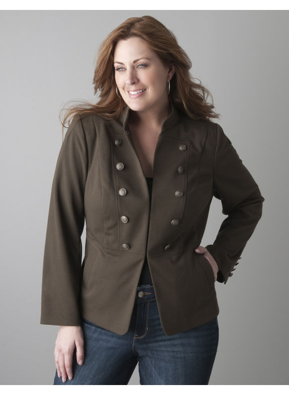 Pasazz.net Favorite -  Lane Bryant Ponte knit military jacket - Women's Plus Size/Spanish