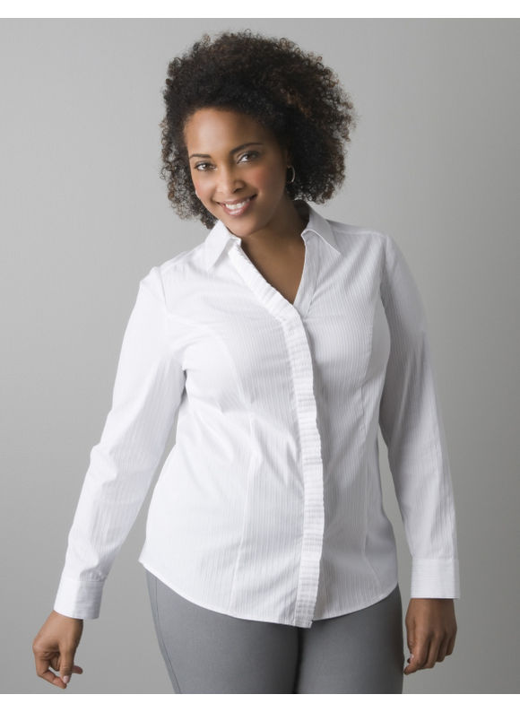 Lane Bryant Pleated front long sleeve shirt - Women's Plus Size/White,