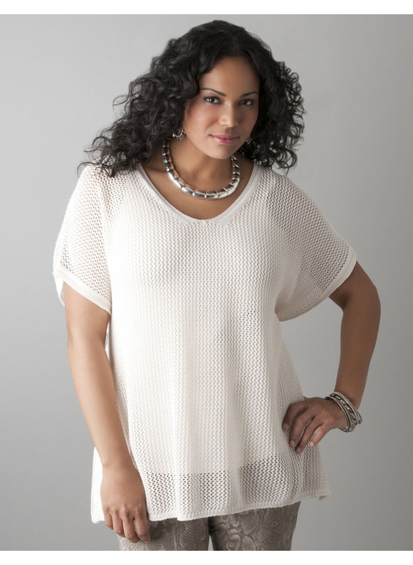 Lane Bryant Open stitch pullover sweater - Women's Plus Size/Gardenia