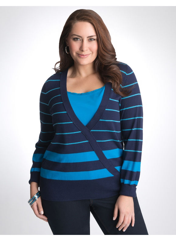 Lane Bryant Striped surplice sweater - Women's Plus Size/Peacoat -