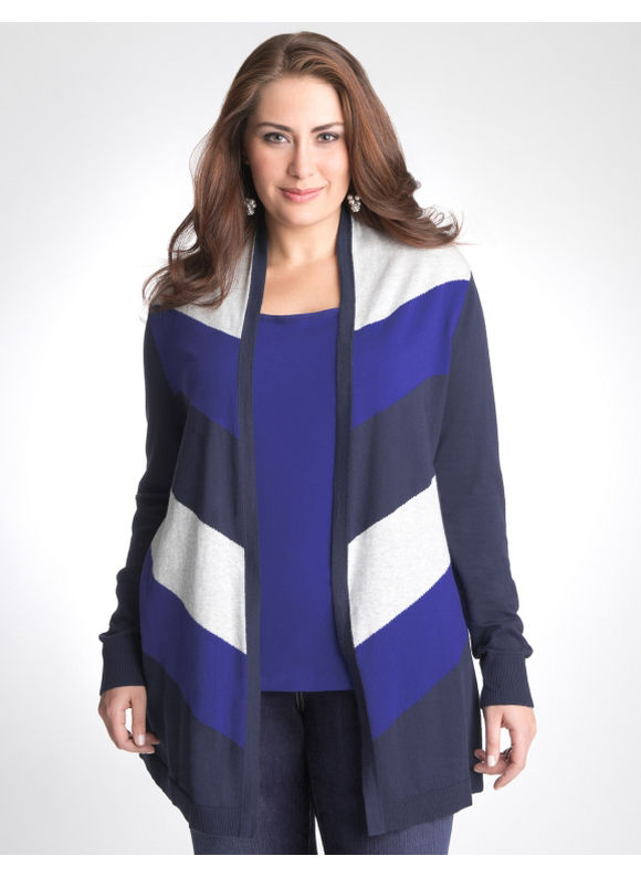 Lane Bryant Multicolored chevron cardigan - Women's Plus Size/Peacoat