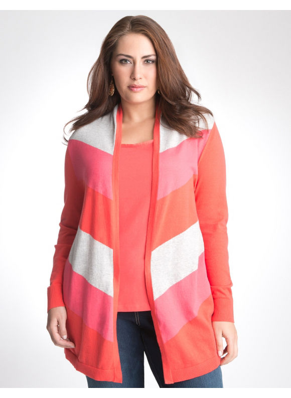 Lane Bryant Multicolored chevron cardigan - Women's Plus Size/Peacoat,