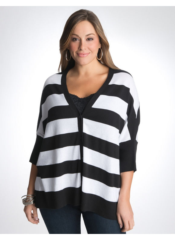 Lane Bryant T-shaped cardigan - Women's Plus Size/Black & white -