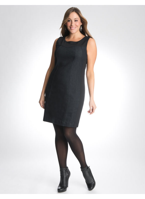 aae429376e1 Lane Bryant Denim   ponte dress - Women s Plus Size Black ...