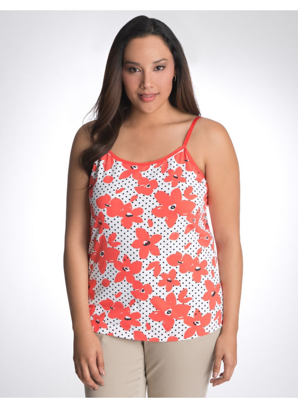 Lane Bryant Plus Size Floral dot cami - - Amparo blue, Hot coral, Dynasty green