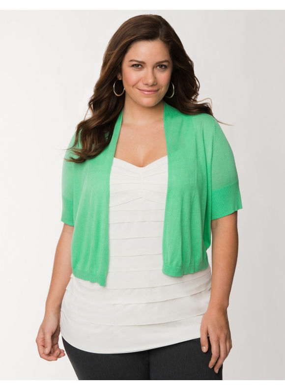 Lane Bryant Plus Size Short sleeve shrug - Spearmint
