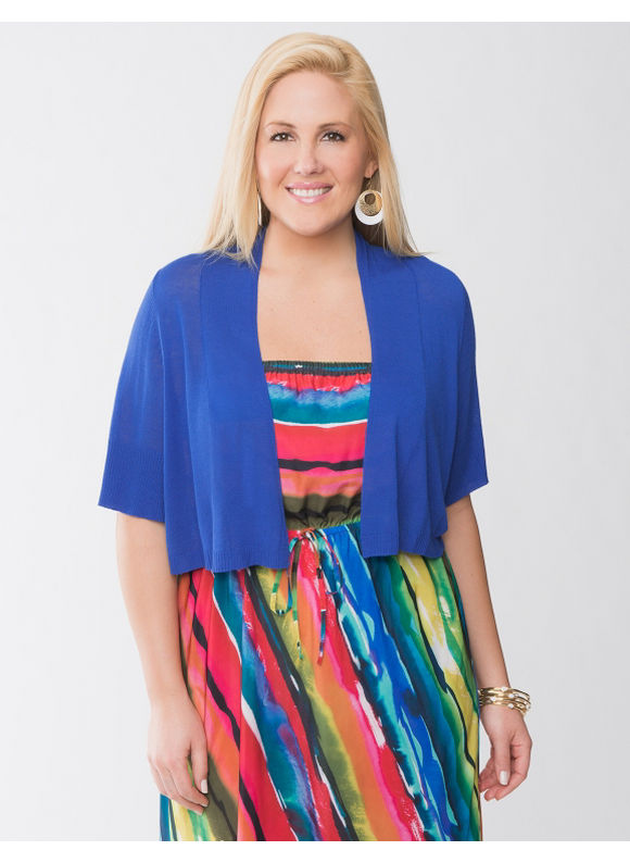 Lane Bryant Plus Size Short sleeve shrug - Deep blue sea