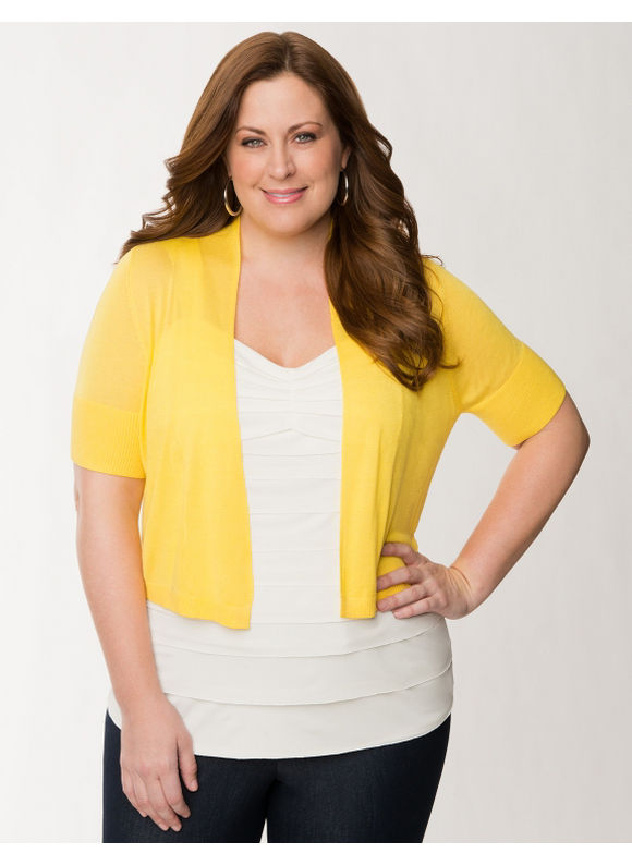 Lane Bryant Plus Size Short sleeve shrug - Lemon zest