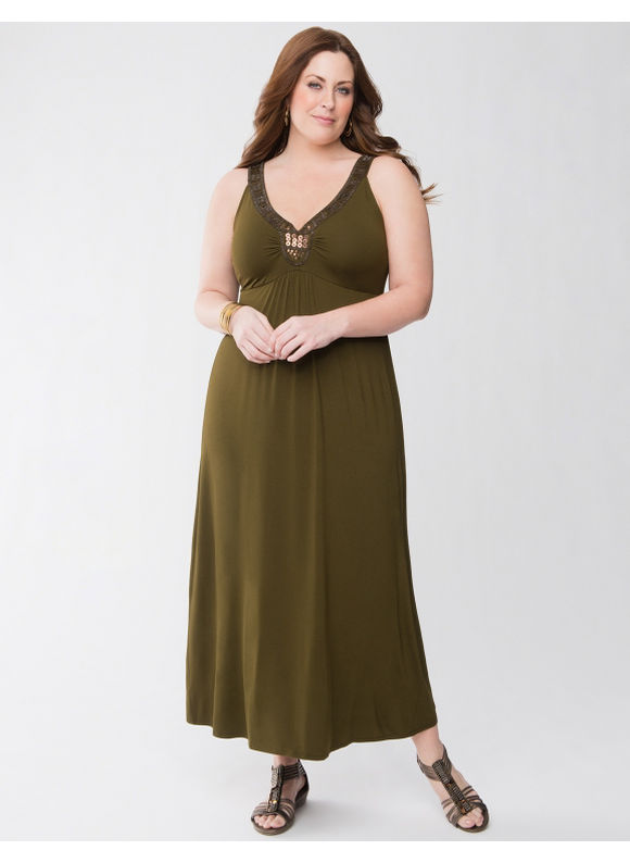 Lane Bryant Plus Size Embellished knit maxi dress