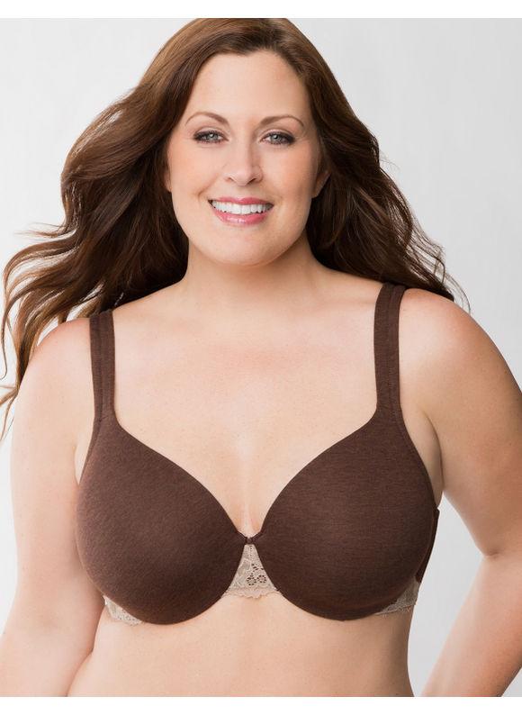6d260de58d921 Lane Bryant Plus Size Cotton full coverage bra with lace Womens Size 46DD