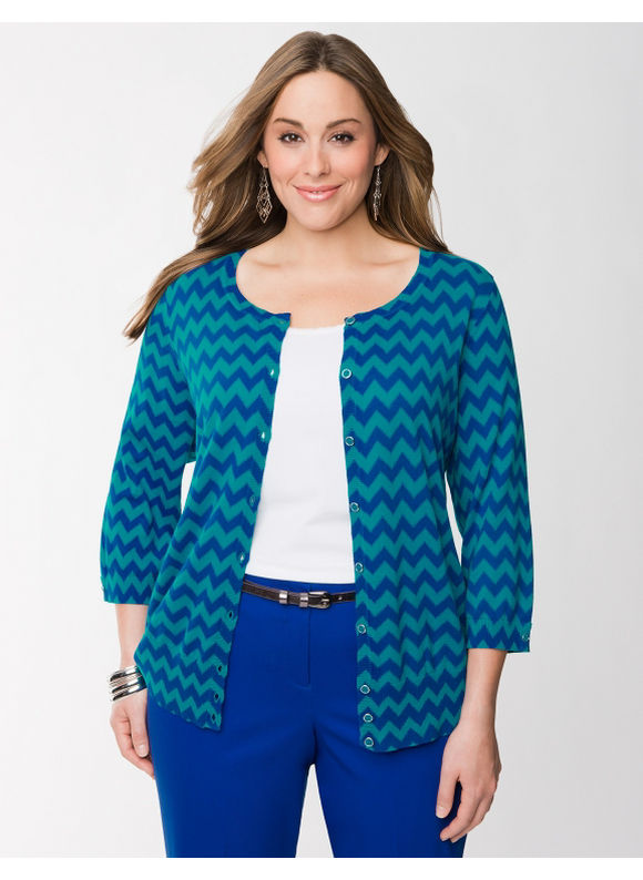 Pasazz.net Favorite -  Lane Bryant Plus Size Chevron cardigan - - Women's Size 16, Turkish Tile