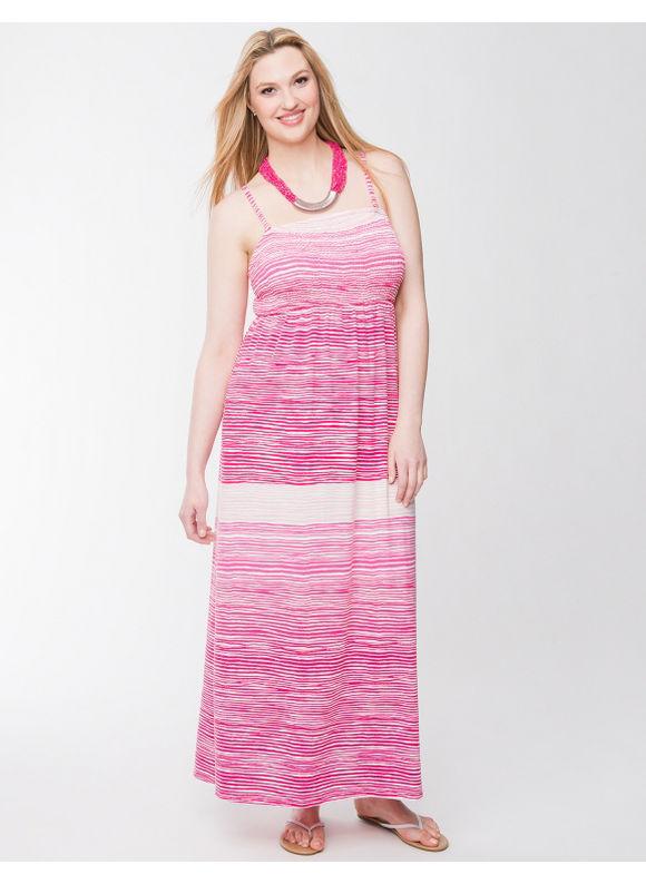 Lane Bryant Plus Size Smocked slub maxi dress - - Women's Size 14/16,18/20,22/24,26/28, Sea glass, Cabaret