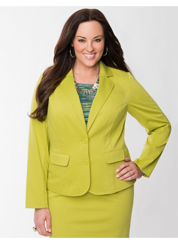 Pasazz.net Favorite -  Lane Bryant Plus Size Ponte fitted jacket - - Women's Size 24, Avocado