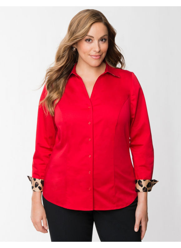 Pasazz.net Favorite -  Lane Bryant Plus Size The Perfect Shirt - - Women's Size 16, White