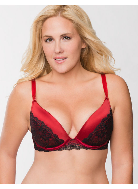 eab86bee6d Lane Bryant Plus Size Satin push up plunge bra with lace Womens Size ...