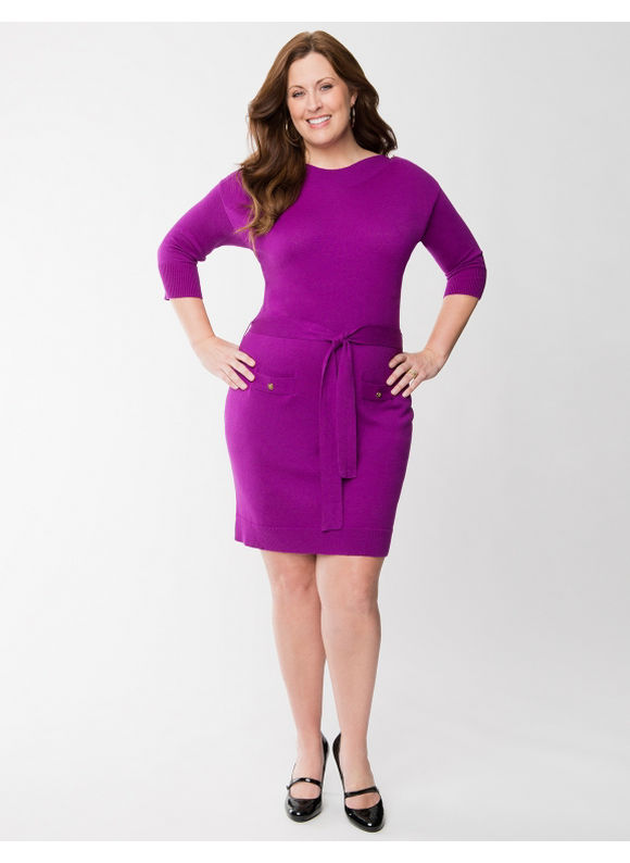 Pasazz.net Favorite -  Lane Bryant Plus Size Sweater dress with buttons - - Women's Size 22/24, Vibrant Violet