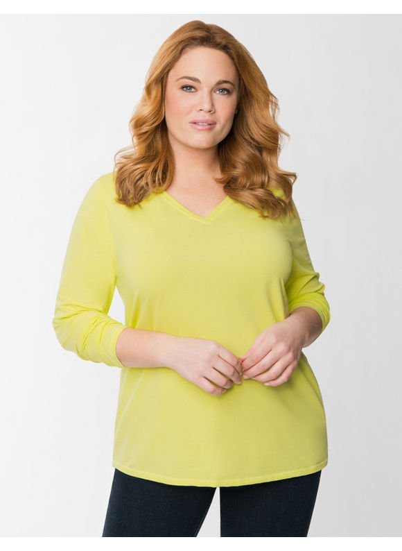 Lane Bryant Plus Size Essential V long sleeve tee - Sunny lime, Nasturtium